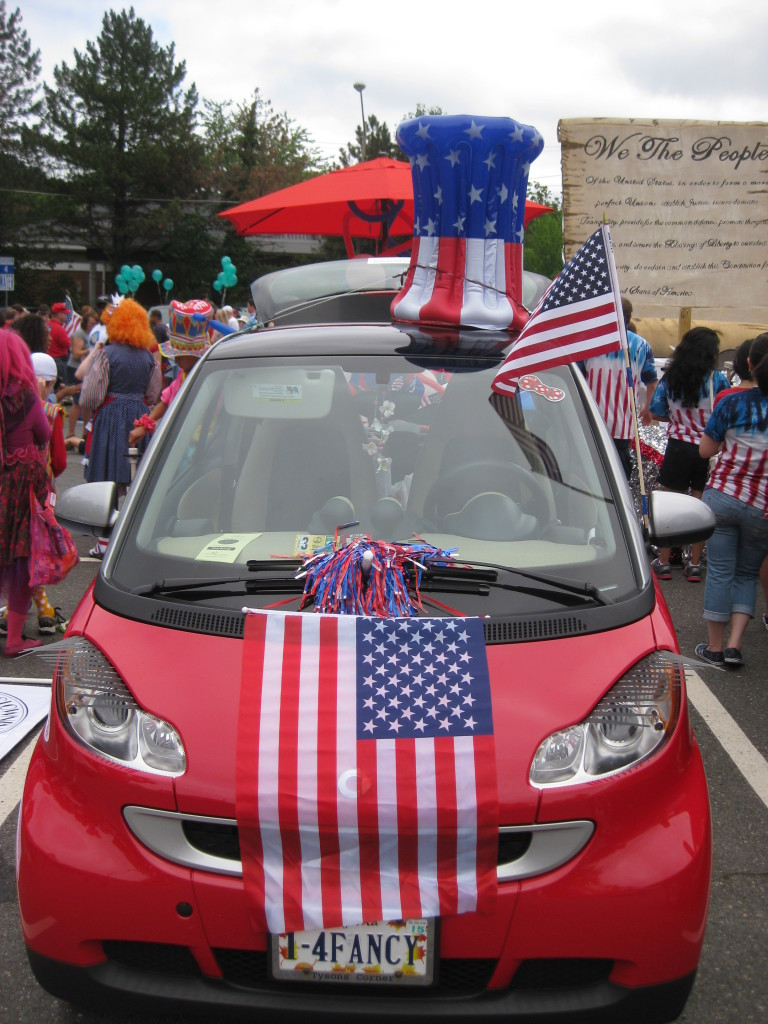 Car decorated for a parade