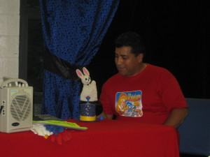 Miguel working with a puppet
